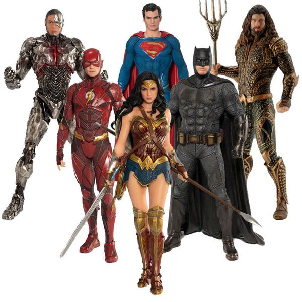Movie Game DC Justice League The Flash Cyborg Aquaman Wonder Woman Batman Superman Statue ARTFX Action Figures Model Toy Doll