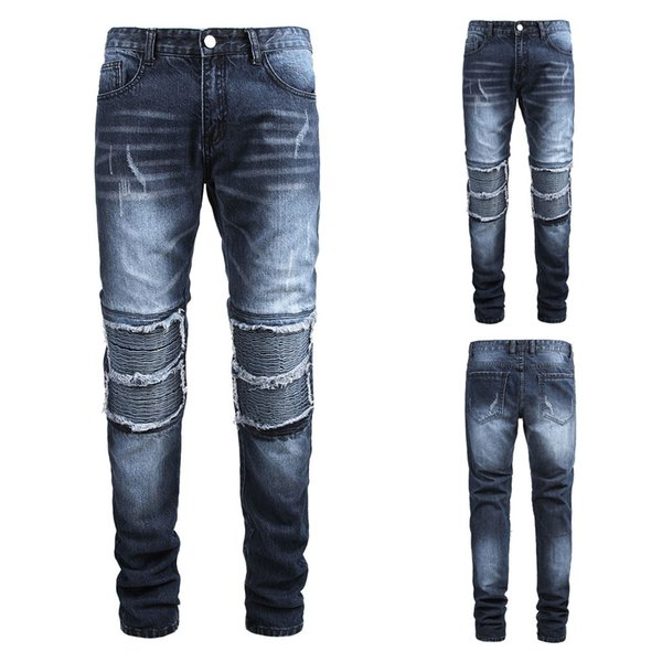 Fashion Men S Casual Personality Slim Fit Denim Wrinkle Jeans Pants Pantalon Hombre Men Casual Pants Men Trousers High Quality Black Buy At The Price Of 20 17 In Dhgate Com Imall Com
