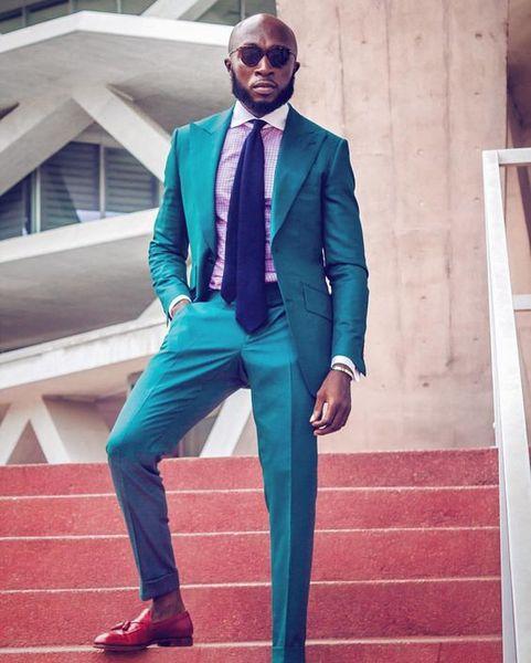 Handsome Two Buttons Groomsmen Peak Lapel Groom Tuxedos Men Suits Wedding/Prom/Dinner Best Man Blazer(Jacket+Pants+Tie) B04