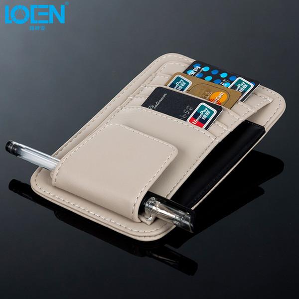 uto storage bag 1PC High-grade artificial leather Multi-function Car Sun Visor card holder Glasses Pen Card Organizer Auto Sunshade Stora...