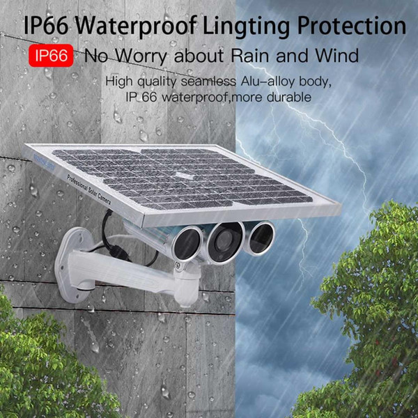 WiFi 4G 1080P Cámara de circuito cerrado de televisión con detección de movimiento P2P 2019 para exteriores con energía solar Cámara de video IP inalámbrica de seguridad inalámbrica