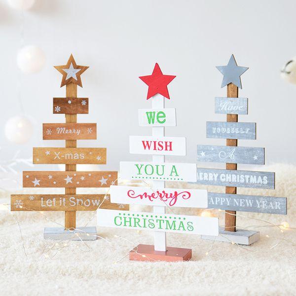 Mini Desktop Christmas Tree Star Ornaments Mini Wooden Merry Christmas Tree Table Decor Pendants Happy New Year Decor