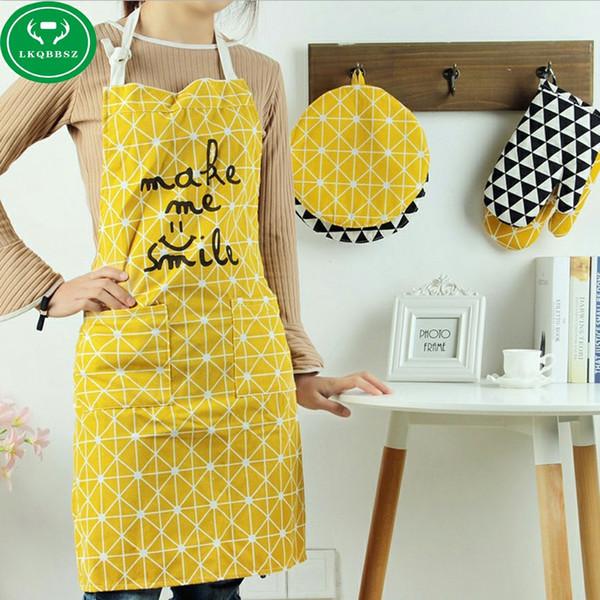 Mulheres de algodão aventais criativo impresso Engraçado avental de cozinha com toalha de mão de bolso hot household cleaning accessories cooking avental