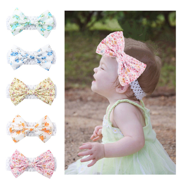 2019 free shipping baby small floral bow knit broadband hair band girls headdress bohemian hair accessories creative
