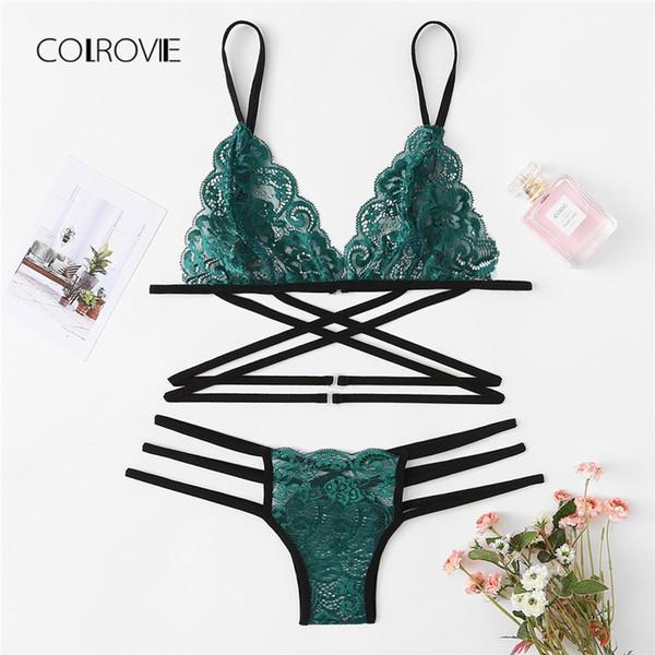 Colrovie yeşil seksi çiçek taraklı trim strappy lingerie set 2018 yeni kadın sutyen kayış setleri kablosuz seksi underwear sutyen seti