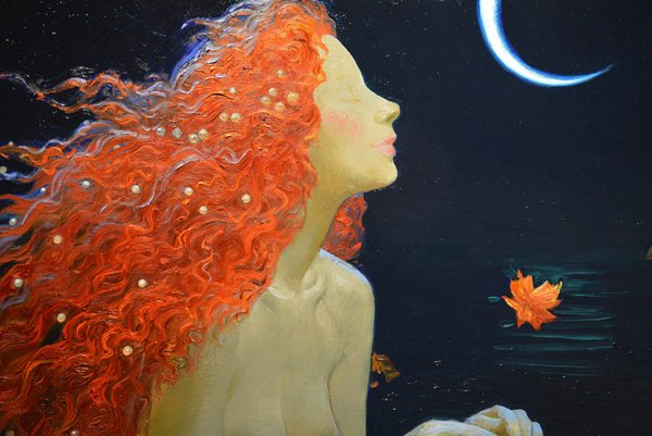 Hot Art Wall Decor Fantasy Vintage Mermaid Oil painting Picture Printed on Canvas series Reproduction Modern office Living Room Decor V062