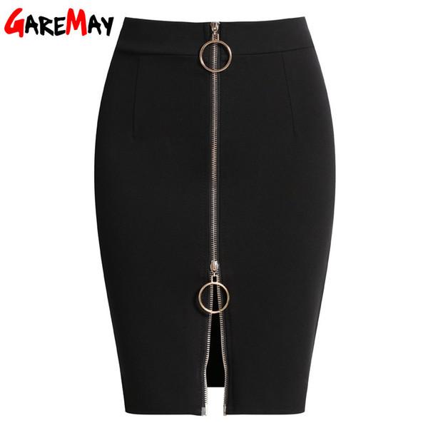2019 Summer Short Skirts Black Womens Elastic High Waist Skirt Plus Size Zipper Office Pencil Skirt For Women Jupe Crayon Y19060501