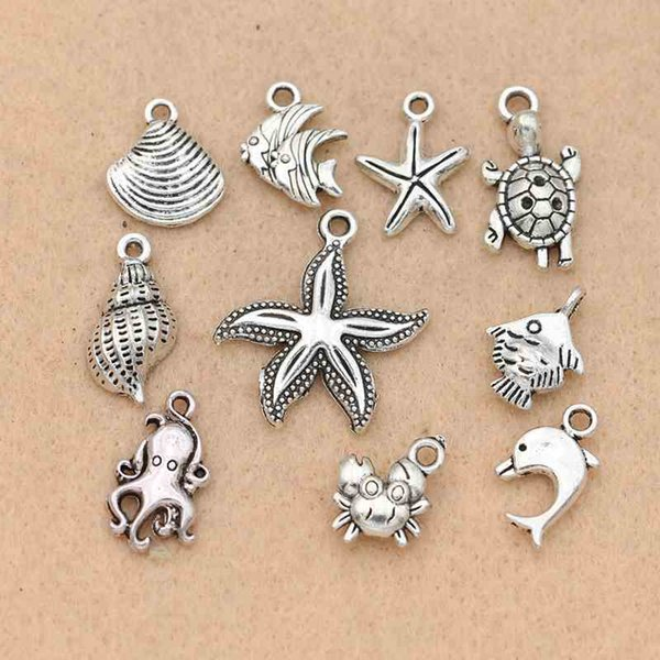 Fashion Charms Mix Tibetan Silver Plated Starfish Fish Shells Dolphin Charm Pendants for Jewelry Making DIY Accessories Jewelry Findings