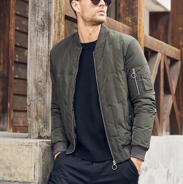 Haute qualité amincir pour les hommes de luxe Automne Hiver chaud Vintage Manteaux récent veste vers le bas parkas pour hommes