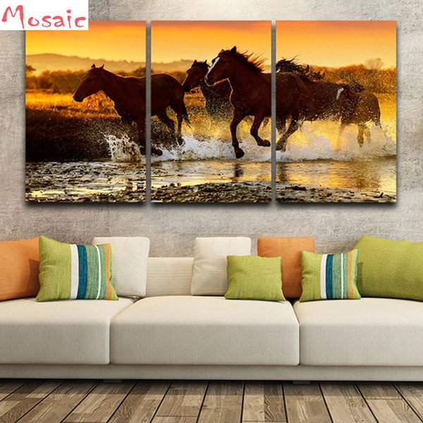 Wall Art diy diamond Painting Home Decor 3 pcs Horse Sunset Landscape Picture diamond embroidery For Living Room Poster Artwork