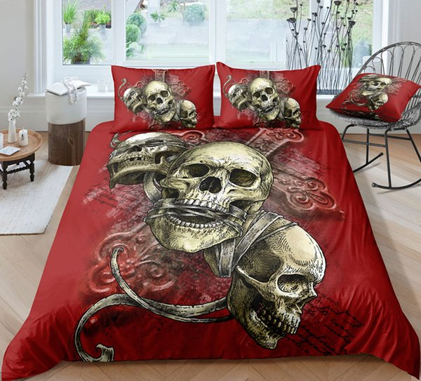 Red Bandage Skull Bedding Set King Size Scary Cross 3D Duvet Cover Queen Home Textile Single Double Bed Set With Pillowcase 3pcs
