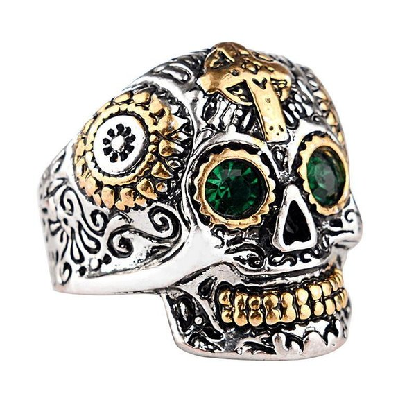 Skeleton Punk Ring Mens Stainless Steel Biker Rings Vintage Gothic Skull Harley Motorcycles Cross Male Ring Jewelry