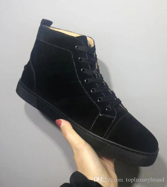 Italia Design inferiore rossa Veau velours Scarpe Sneaker High Top Lace-USP Uomo Sneaker Red Rubber Sole Grey Suede Uomini piatto Orlato Rantus libero