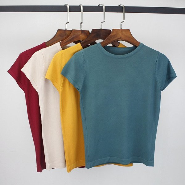 Gigogou 2019 Summer T Shirt Women Knitted Short Sleeves Tee Shirt High Elasticity Breathable Top Female Tshirt S403