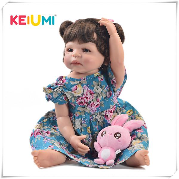 Keiumi 22 Pouce Mode Reborn Vivant Fille Corps Complet Silicone Réaliste Princesse Bébé poupée Pour Enfants Cadeaux De Noël Bricolage Style De Cheveux Q190530