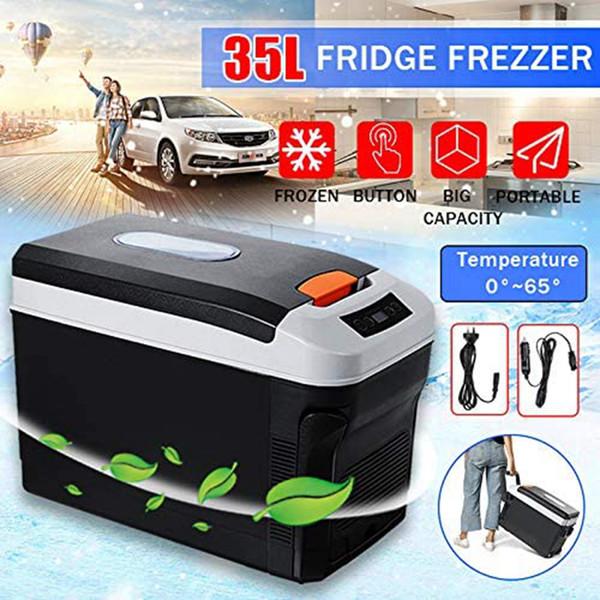 top popular Mini Car Refrigerator 35L Freeze Heating DC12 24V AC220V Portable Fridge for Car Home Picnic Refrigeration Heating 0-65 Degrees 2020