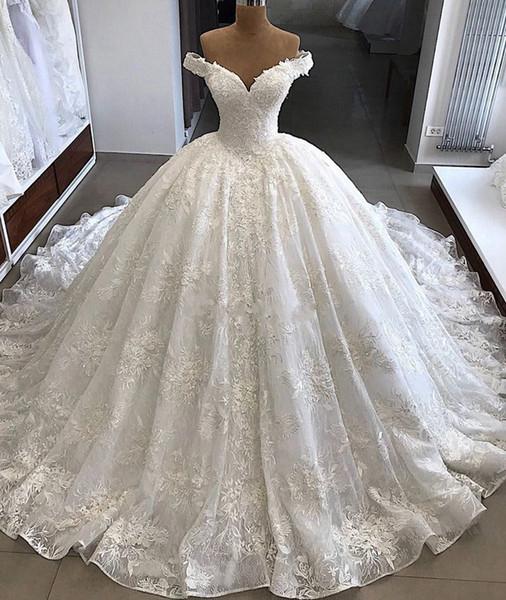 Роскошные бальные платья свадебные платья 2019 Puffy Cap Sleeve -плеча Саудовская Аравия Ivory Кружева Свадебные платья Свадебные