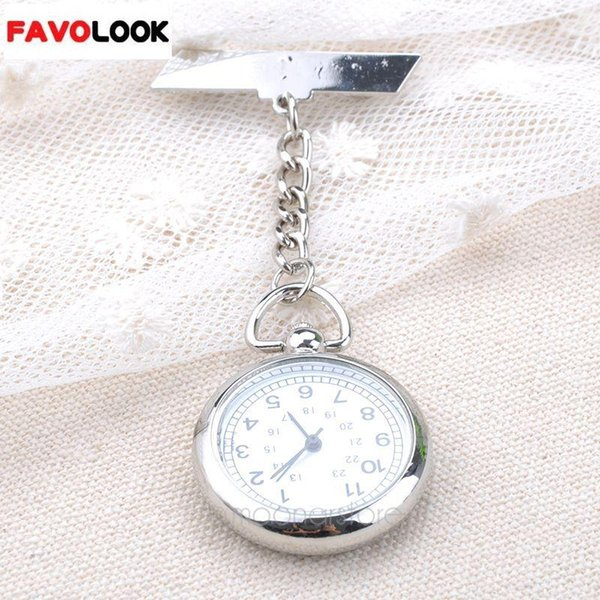 Nuevo estilo cara grande enfermera Clip reloj uso médico bolsillo Fob broche de cuarzo reloj cadena Pin corchete
