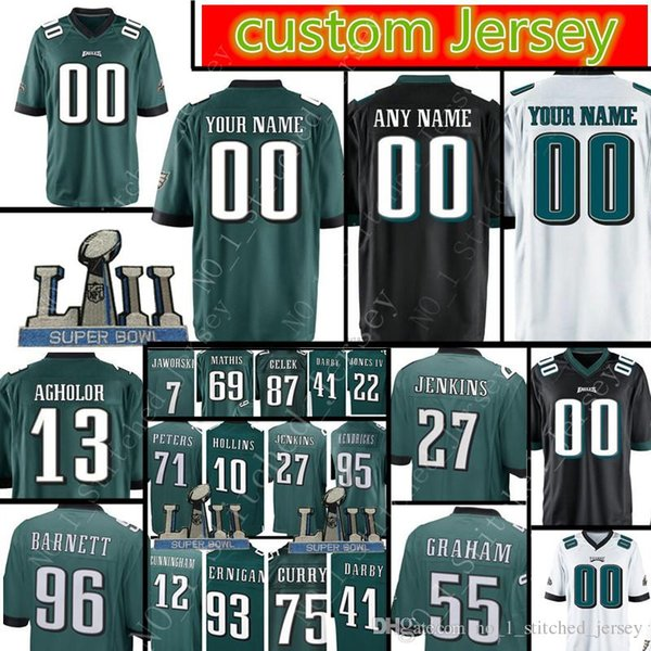 best service 12ce7 6d0e3 2018 Philadelphia Men Eagles Custom Jersey 55 Brandon Graham 27 Malcolm  Jenkins 30 Corey Clement 0 Goedert 29 Murray 43 Sproles 31 Mills Jersey  From ...