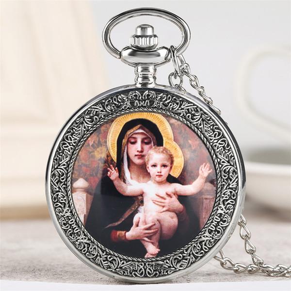 Retro Virgin Mary & amp Jesus Theme Quartz Pocket Watch Exquisite Vintage Necklace Clock Men Women Souvenir Pendant Watches Gift
