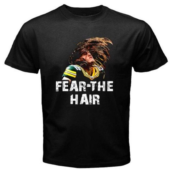 New Clay Matthews Fear The Hair Camiseta negra para hombre Talla S a 3XL
