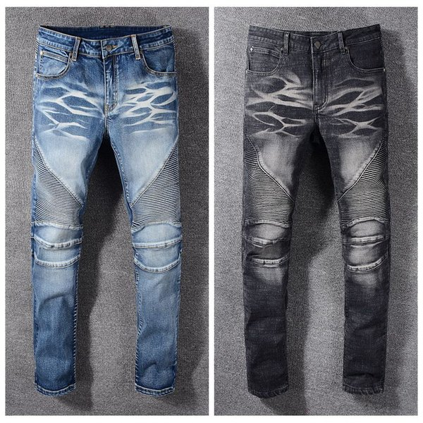 2019 French classic mens jeans pour hommes bike street fashion three-dimensional cut wash water white knee 3D folds skinny designer jeans
