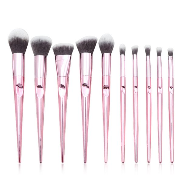 gemtotal diamond makeup brushes set 10-pieces foundation concealer contour blush lip powder eyeshadow eyebrow synthetic hair (black