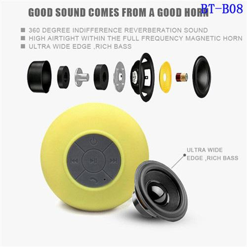 suction Waterproof bathroom shower bluetooth speakerHot selling Waterproof Wireless speaker Mini Shower Speaker with Built-in Mic