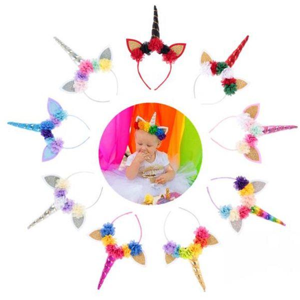 New creative high quality Unicorn Headbands Hair Jewelry cute chiffon flower baby party birthday Headwear hair band T7C5015