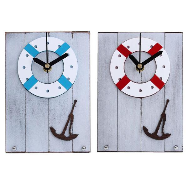 European Mediterranean Style Wooden Desk Clock Table Desktop Clock Wood For Gift Room Decor