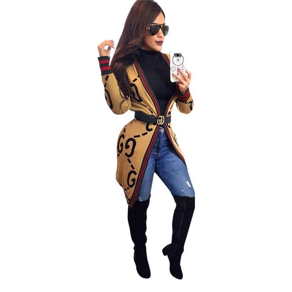 Lüks Kadınlar Tasarımcı Kazak Bahar V Boyun Hırka Kazak Mektup Baskılı Kadın Giyim Moda Rahat Giyim