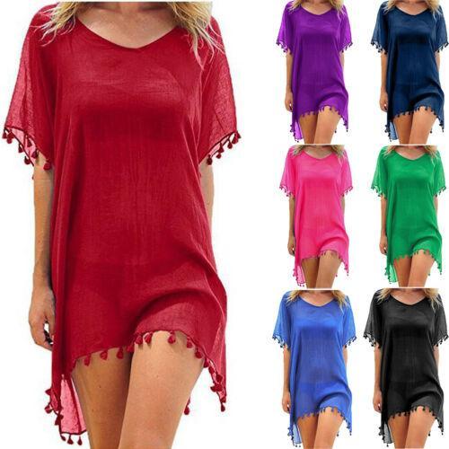 new women beachwear swimwear tassel bikini cover up summer kaftan beach dress bathing suits summer mini dress loose solid pareo