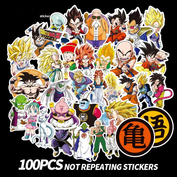 100 unids / set Dragon Ball Z Graffiti Pegatina no repetir Equipaje DIY pegatinas de dibujos animados PVC pegatinas de pared niños regalo juguetes bolsa decoración fFA1654