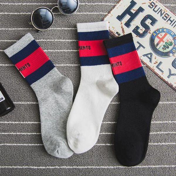 New VETEMENTS Socks Cotton Socks Men and Women Fashion Brand VT Sports Skateboard Socks Letters Striped Stocking Hot Sale