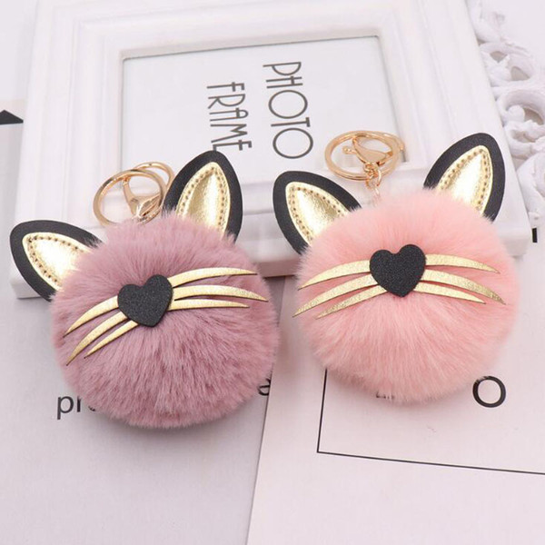MOQ:10PCS Girls Fashion Jewelry Keychains Cute Cat With Leather Ears Fluffy Pendant Key Ring For Women Bags Car Decoration