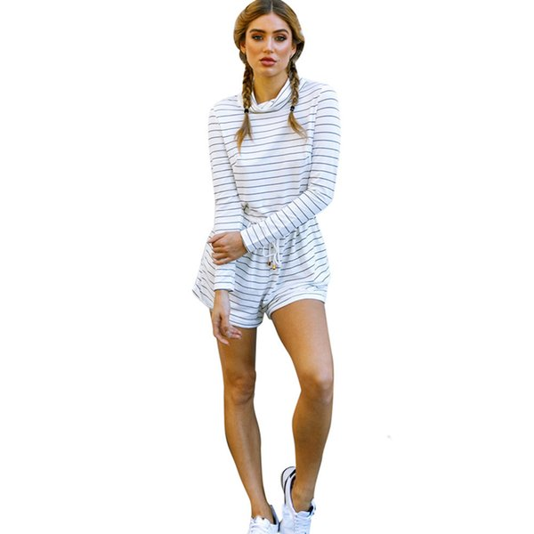 Women Autumn Casual Loose Stripe Long Sleeve Jumpsuit Playsuit Romper tracksuits Overalls Body feminino Combinaison short femme