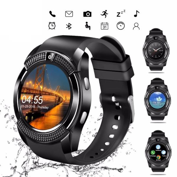Relógio inteligente V8 Homens Bluetooth Esporte relógios Mulheres senhoras Rel gio Smartwatch com câmera Sim Card slot Android Phone PK DZ09 Y1 A1 (Varejo)