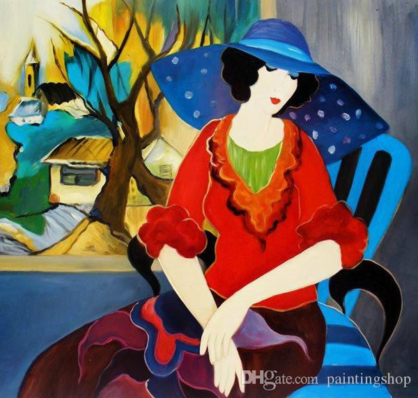 Itzchak Tarkay Nouvelles Figuration Home Artworks Modern Senhora Portrait Handmade Oil Painting on Canvas Concave and Convex Texture IT055