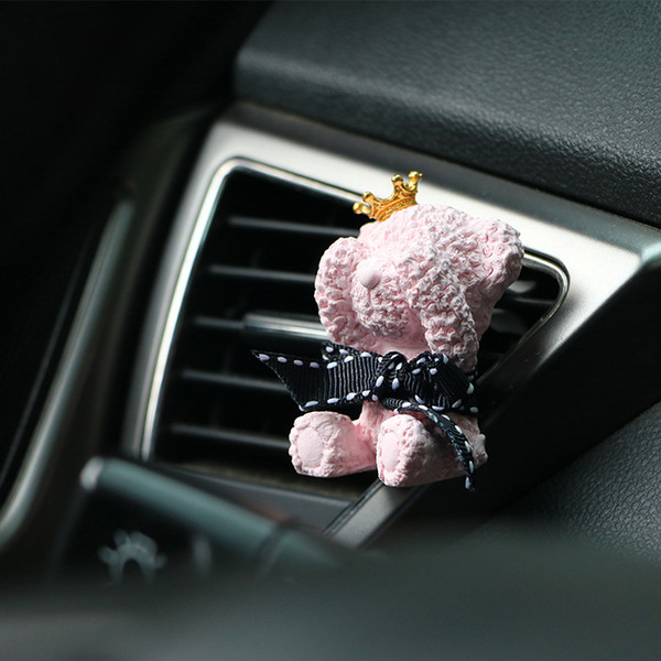 Plaster Teddy Bear Car Diffusers Essential Oils Car Diffuser DIY Car Diffuser Decoration High Absorptivity 4 colors clip for air conditioner