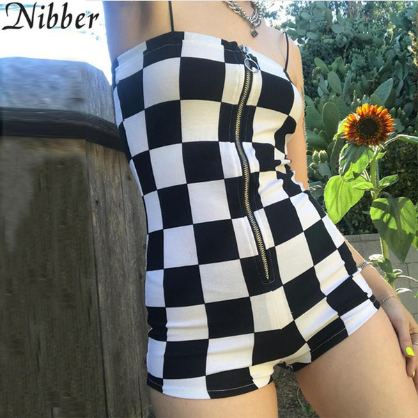 Nibber New Women's Wild Jumpsuit Fashion Home Clothing Zipper Black White Plaid Playsuits Ladies Leisure Vacation Bodysuits Y19051601