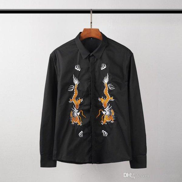 2018-2019 Париж мода весна и осень новая мода бренд мужской одежды отворот досуг вышивка серии с длинным рукавом бутик рубашка м-3xl бесплатно f