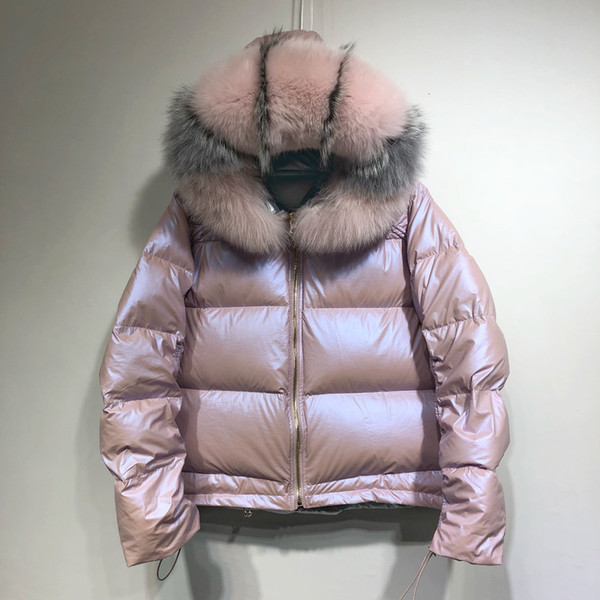 Large Real Natural Fox Fur 2019 Winter Jacket Women Down Parkas Coats Hooded White Duck Down Jacket Double Sided Waterproof Coat SH190913
