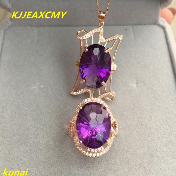 KJJEAXCMY boutique gioielli in argento 925 e ametista orecchini collana puri con tre serie di gioielli