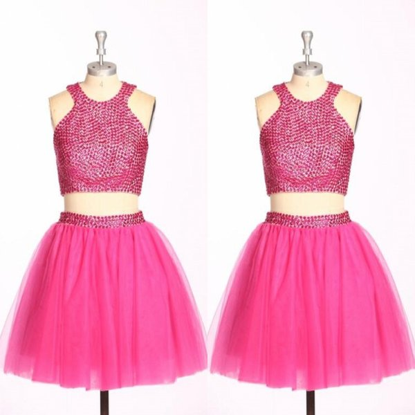 Real Images Two Pieces Homecoming Dresses Jewel Beads Sequins A Line Short Party Dress Back Zipper Tutu Skirts Cheap Prom Dress