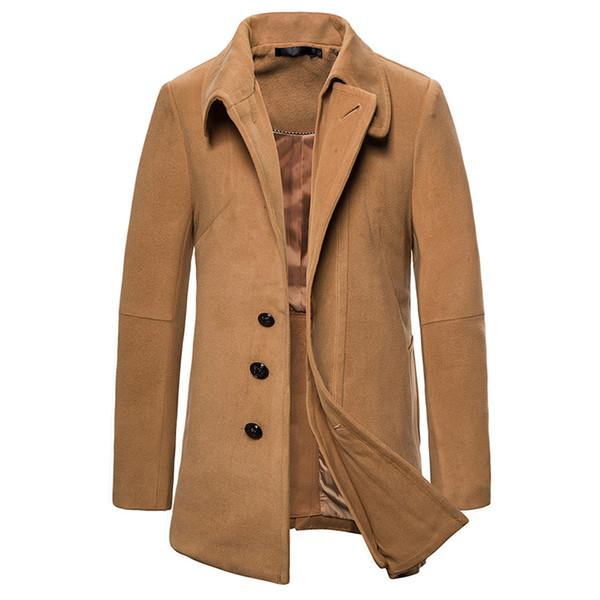 Осень Зима шерстяное пальто Мужчины отворотом Camel цвет пальто Новый британский стиль шерстяное пальто Мужчины куртка