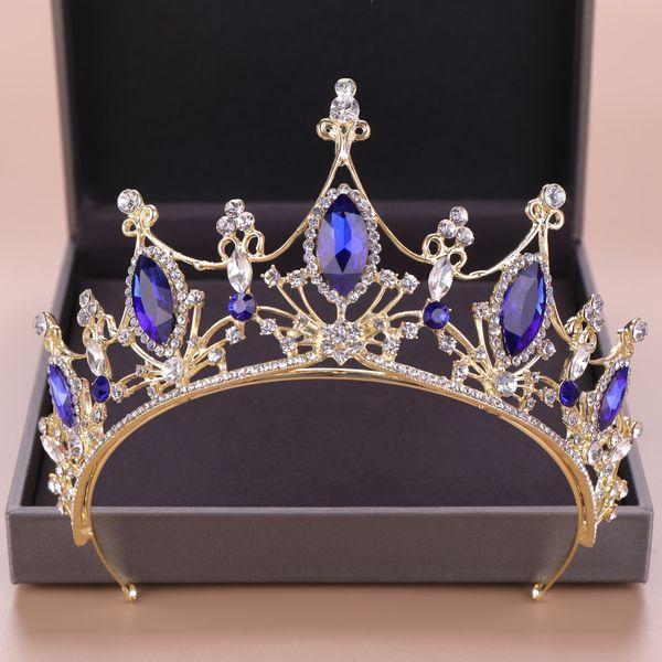 Altın Kadın Saç Takı Mavi Kristal Rhinestone kısımda diadem Vintage Tiaras Ve Kron Kraliçe Prenses Düğün Saç Aksesuarları Hediyeleri