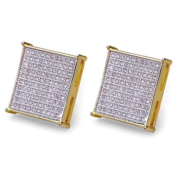 Hiphop Stud earrings for women men gifts Luxury boho white Zircon square Dangle earrings gold plated Vintage geometric Jewelry wholesale