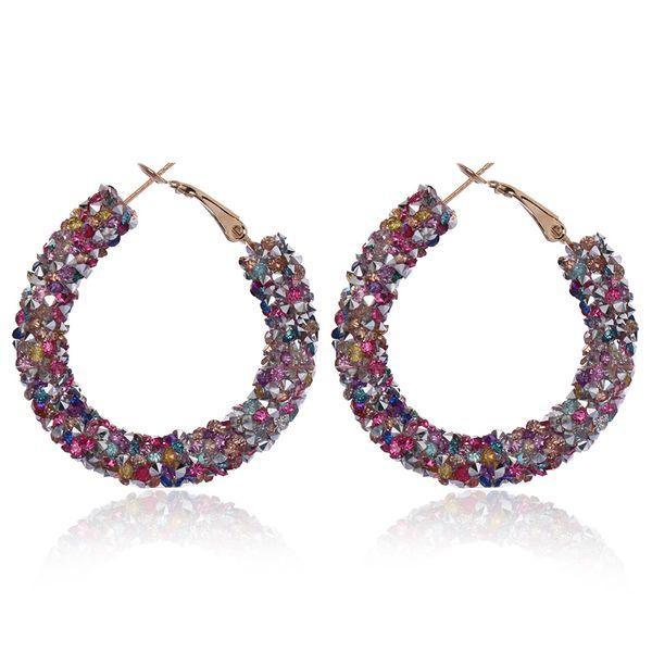 1 Pair New Women's Austrian Rhinestone Crystal Earring Big Circle Hoop Earrings Shiny Round Ear Glitter Geometric Jewelry