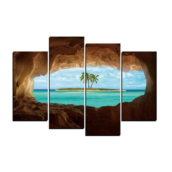 Sea Beach Isle Seascape,4 Pieces Home Decor HD Printed Modern Art Painting on Canvas (Unframed/Framed)