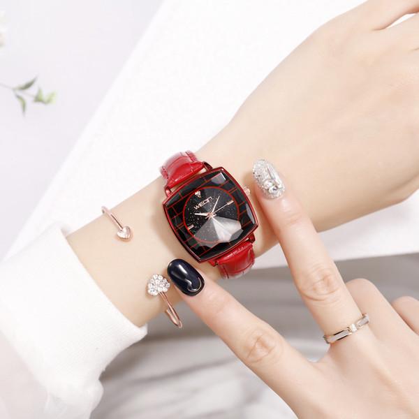 Square Ladies Wrist Watches Starry Sky Female Clock Leather Quartz Watch Elegant Women Watches Bracelet Watch Montre Femme 2019
